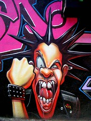 Anger Detail (See El Photo) Tags: street 15fav streetart art wall graffiti cool alley punk paint anger punkrocker melrose 100views spraypaint yell shout alleyart raisedfist 1f onblack spikedhair faved clenchedfist 111v1f verycool seeelphoto chrislaskaris