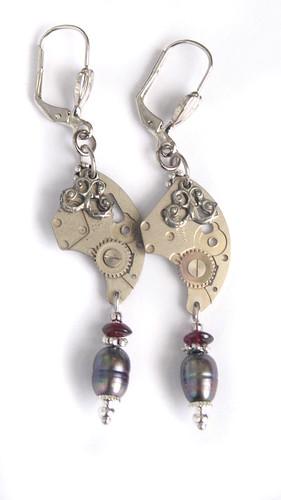 pearl steampunk earrings