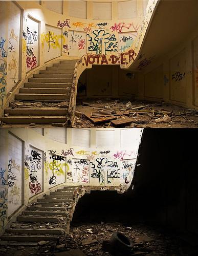 Escalera: Antes y después.
