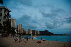 Waikiki (Mr. Biggs) Tags: travel sunset vacation beach skyline clouds hawaii hotel evening place waikiki oahu palmtree diamondhead honolulu biggs royalhawaiian mrbiggs