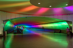 Under the Rainbow (caribb) Tags: travel usa hub america flying airport unitedstates michigan detroit tunnel link dtw connector passageway