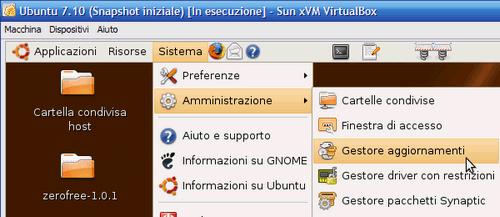Fig 9 - VirtualBox snapshot - Gestore aggiornamenti di Ubuntu