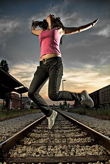 (Csheemoney) Tags: lighting light sunset girl station train jumping model nikon flash joy rail nike strobe sb26 happynes strobist nostrobistinfo removedfromstrobistpool seerule2