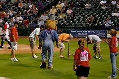 Drunk Dizzy Bat Race! (Amanda SG) Tags: dog chicago game silly sports hat drunk race train ball texas baseball spin bat houston guys iowa mascot spinning overalls cubs express dizzy astros base roundrock aaa minorleague foolish conductor delldiamond farmteam maybenot triplea butnotafraidtoactdrunk
