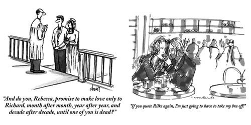 Dos viñetas de The New Yorker, en la primera una pareja casandose y en la segunda un chico y una chica flirteando en el típico bar burgués