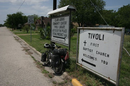 Having a break in Tivoli, Texas.