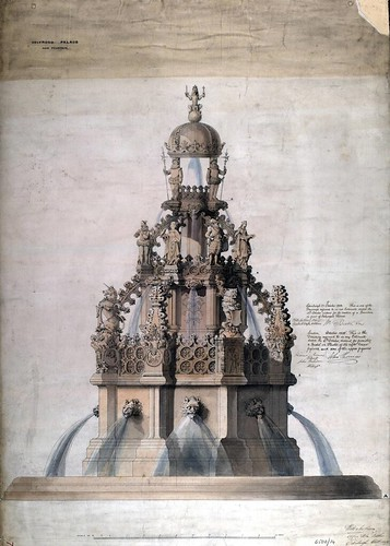 Architectural drawing of new fountain for Holyrood Palace