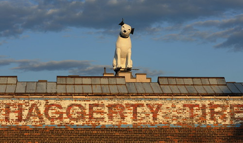 RCA His Masters Voice dog at sunset.  Photo by Chuck Miller.