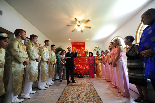 Everyone gathered inside the groom's home
