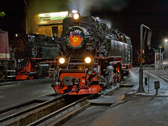 Mephisto by Night (Gerry Balding) Tags: train germany smoke tracks engine pit turntable steam rails locomotive wernigerode hsb engineshed harzquerbahn harzerschmalspurbahnen