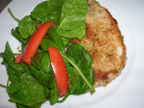 Schnitzel Pork Chops with Spinach Salad