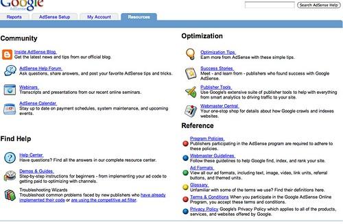 Google AdSense Resource Tab