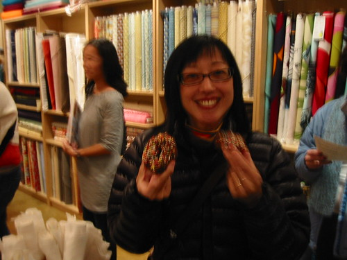 Mariko with her first and second donut