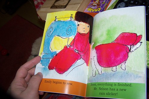 A book about a girl who decides to make her dog a raincoat