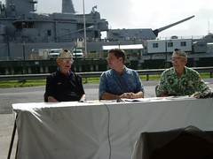 Paul Goodyear, Dick Pryor and George Brown in December 2007 remembering the Pearl Harbor attack, at Pearl Harbor