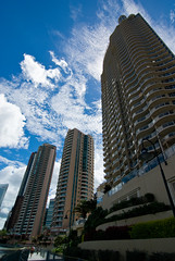 Admiralty Towers, Brisbane (Craig Jewell Photography) Tags: blue sky cloud building architecture clouds iso200 apartment skyscrapers cloudy towers wide australia wideangle brisbane f90 block residential admiralty 1800sec pentaxk10d smcpentaxda1224mmf4edalif smcpda1224mmf40edalif cpjsm craigjewellphotography