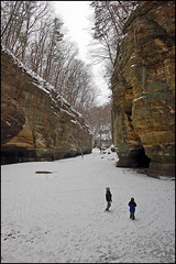 Dwarfed in the frozen canyon