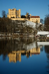 Schloss Hohenschwangau in Lake Alpsee Photo