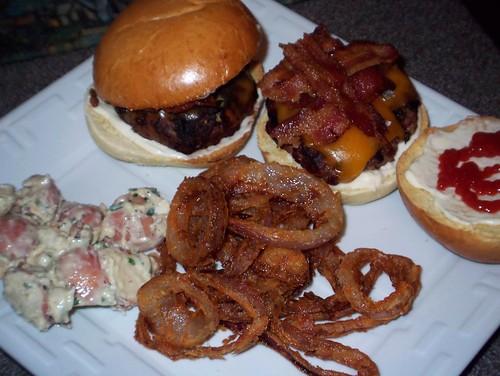 burgers rings and potato salad