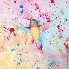 Hummingbird (Christin_Homann) Tags: hummingbird acrylicpaint justartthings pastelcolours nature animals rainbows like breeze