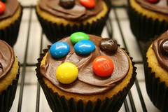 Chocolate Chip cupcakes w/ M&M's
