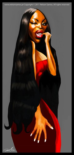 Naomi-Campbell-Caricature-portrait [Copyright Nelson Santos] by caricaturas
