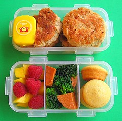 Salmon cake bento lunch