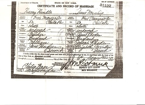 Marriage Cert Annie Worship & Harry Hindle 1922 New York USA
