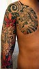 Front/Side of taino tattoo Completed Taino Sleeve