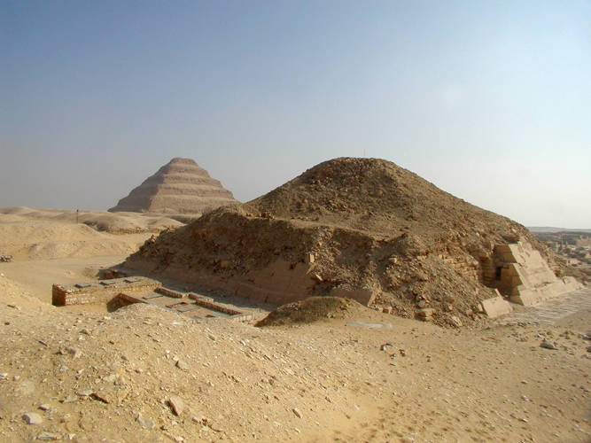Pyramid of Unas wth Djoser's step pyramid in the background