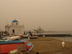 an unusual morning in the port... (hagne) Tags: sky beach fog port boats island boat sand chapel pelican greece mykonos myconos