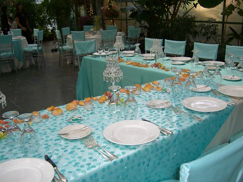 Teal Blue and Peach Bridal Table