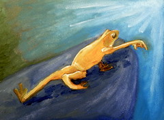 Golden Frog Waves Goodbye (Tara Wheeler) Tags: frog oilpainting paintingaday panamaniangoldenfrog dailypainting