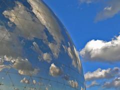 Géode - Paris (France) (Meteorry) Tags: park city blue sky cinema paris france industry glass reflections mirror europe cité science bleu ciel sphere parc industrie imax villette parcdelavillette onblue géode lagéode omnimax meteorry cabasse fainsilber seenonflickr