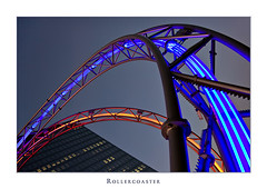 Rollercoaster (Philipp Klinger Photography) Tags: blue light red sky sculpture glass metal skyscraper reflections germany deutschland hessen frankfurt rollercoaster hesse dcdead