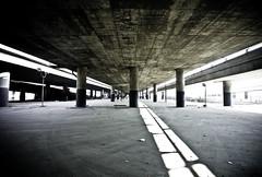 Freeway Nexus (analog_chainsaw) Tags: underpass concrete la losangeles freeway pylons interchange