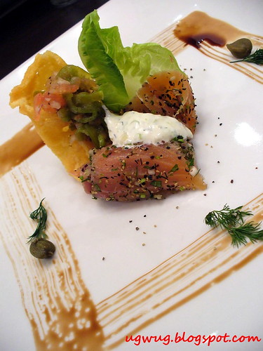 Salmon Gravlax with Scallion Cream & Parmesan Tuille