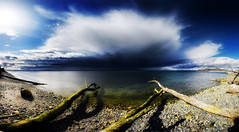 rain is coming (wildpianist) Tags: ocean seattle park city blue trees sky tree beach water colors rock skyline clouds canon eos washington sand rocks pacific northwest branches dramatic vivid wideangle pebbles trunk pacificnorthwest pugetsound ripples stitched 1740mm discoverypark orton 30d christarnawski