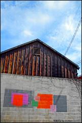 barn (dogfaceboy) Tags: barn graffiti paint garage cinderblockwall ididnthavemywiiiiiiideyet