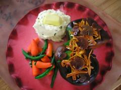 Filet Dinner Cake (TabbyCake) Tags: birthday food cake dinner mushrooms tabby mashedpotatoes onions novelty peas carrots greenbeans veggies filet airbrush fondant gumpaste spellbound cakefood tabbycake cakefilet