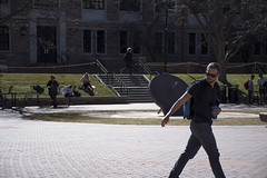 Student Off to Norlin - Back Lighting (kendallcandi) Tags: norlin library quad cu boulder students sun break fountain warm school class passing walking man sunglasses colorado unitedstates