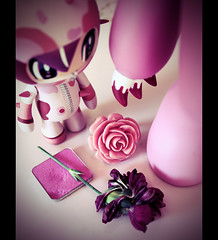 MAKE IT PINK! ( Fufue ) Tags: pink flower rose canon toy switzerland blood gloomy suisse geneva group ring plastic sang genve groupe plastique bague tokidoki fard oeillet 450d makeitpink