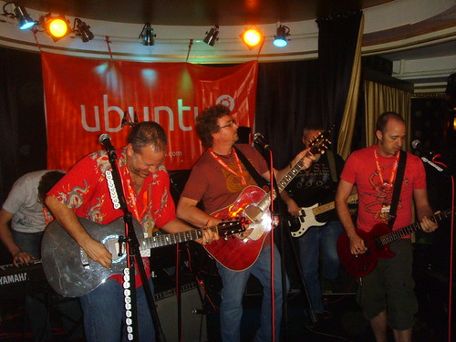 The Ubuntu band playing at the party