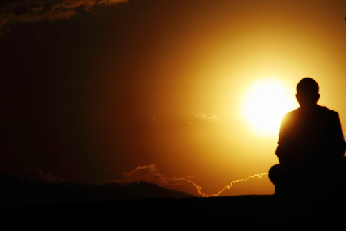 Sunset & the Thinker by Esparta.