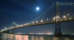 Moonlight Sonata (Karen.b) Tags: sanfrancisco longexposure bridge moon reflection water night lights bay baybridge embarcadero moonlight sanfranciscobaybridge oaklandbaybridge platinumphoto anawesomeshot impressedbeauty superbmasterpiece diamondclassphotographer theunforgettablepictures excapture