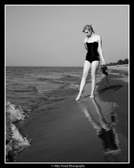 Sandy Kat .04 (Mike Wood Photography) Tags: bw woman lake ontario canada reflection sexy classic beach water girl beautiful contrast wow walking hearts eos sand kat shoes pretty waves legs gorgeous arr corset tall lakehuron allrightsreserved musing mikewood w4b mwblog a twtme 400d ©w4bphotography ©mikewood aplusphoto amazingshots violetcouture mwpfash mikewoodphotographycom ©mikewoodphotography