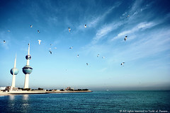 [ Kuwait My Country ]   (Al Fassam) Tags: blue trees light sea sky white water birds clouds canon wow landscape flying amazing waves seagull fave faves kuwait kuwaittowers mycountry beautimous alfassam fav90 abigfave sigma1020lens kuwaitinlet 11exploreon1jan