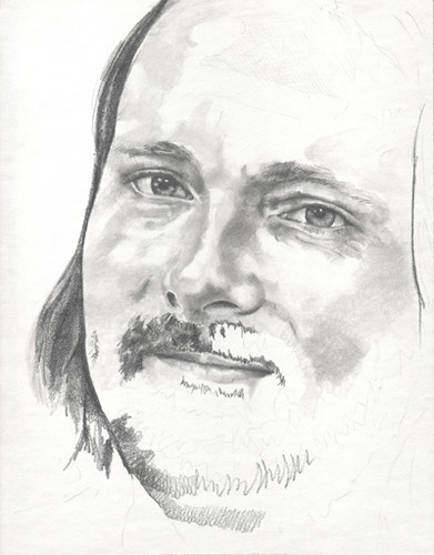In progress scan of graphite portrait entitled KSmith