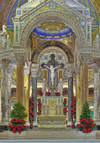 Cathedral Basilica of Saint Louis, in Saint Louis, Missouri, USA - High Altar, decorated for Christmas
