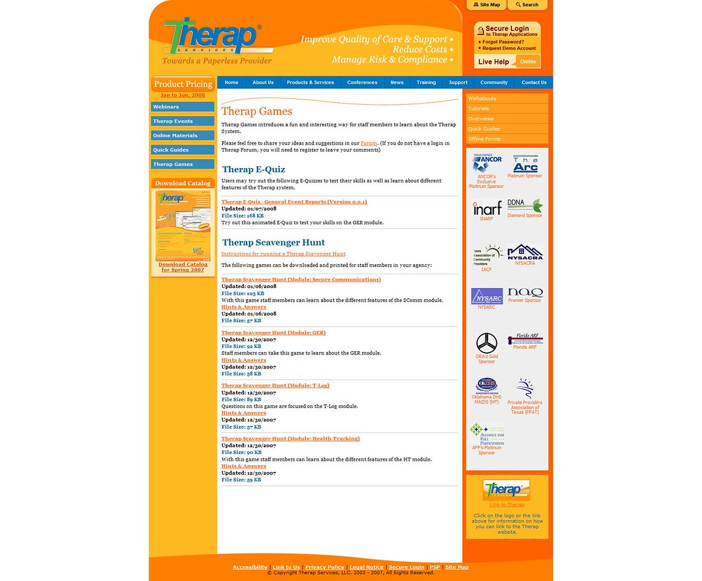 Screenshot of 'Therap Games' Page